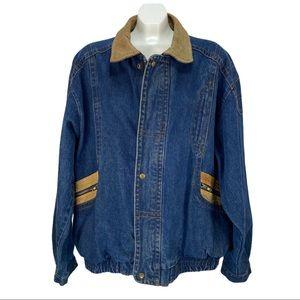 Vintage Bandana Denim Jean Jacket Bomber Style